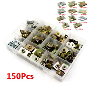 150Pcs Car Fender Bumper Panel Retainer Self-tapping U-Clips Nuts Kit fit Screw