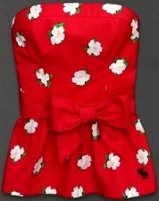 NEW! Abercrombie and Fitch Tube Top Strapless White Flowers! Pretty Red & Ribbon