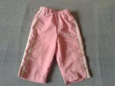 Baby Girls 6-12 Months - Pink Tracksuit Trousers, White Stripes & Logo- Lonsdale