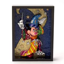 """Romero Britto Disney Mickey """"Sorcerer"""" Framed Pop Art Block 3-D * New *"""