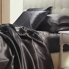 Satin Sheet Set King Size Charcoal Grey Silk Feel Luxury 4pc Bedding Set New