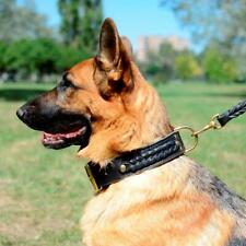 K9 Extra Wide and Thick Leather German Shepherd Dog Collar Heavy Duty M L XL