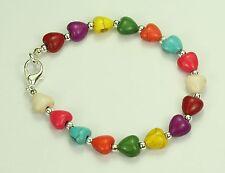 Teñido Howlite multicolores (piedra) Corazones Pulsera, Plateado Bola Espaciadores