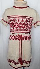 Energie Womens Juniors Sweater Dress Beige Red Pom Pom Mock Neck Tunic Size S M