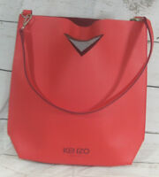 Kenzo Parfums Large Red Faux Leather Shoulder Tote Bag