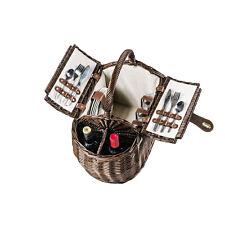Picknickkorb für 4 Personen - Halbrunde Schmalseite mit Flaschenhalter + Zubehör