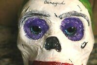 Joker SKULL art OOAK Handpainted