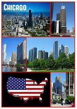 Chicago, USA - Souvenir Neuheit Kühlschrank Magnet - Sights /Flagge/Neu / Gifts