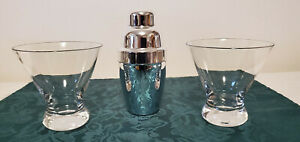 Martini Set - Pair of Short Glasses & Single-Serving Mirrored Plastic Shaker