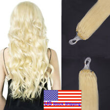Micro Ring Beads Loop Tip Remy Human Hair Extensions Platinum Blonde 20Inch200S