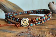 Beaded Leather 2xWrap Anklet/3xWrap Bracelet Handmade Picasso Beads Yevga 20.5''