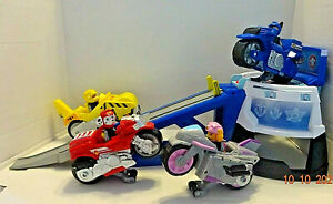PAW PATROL Pups Moto HQ Playset with Sounds + 4 Pups & Vehicles- Working