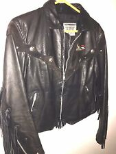 ladies Dallas premium BLACK leather MOTOR CYCLE jacket size 8 USA FLORAL ROSE