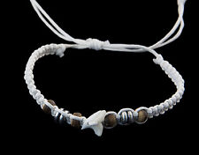 Bracelet brazilian tooth of shark real and pearls wood thread White- BB 990