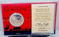 LION KING DISNEY CIRCLE OF LIFE 999 SILVER MEDALLION SEALED MINT PACKAGING