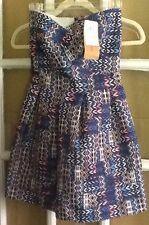 PAPER CRANE strapless DRESS Cocktail PROM IKAT BLUE sz XS NWT
