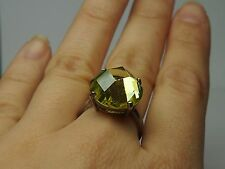 925 STERLING SILVER RING with YELLOW CUBIC ZIRCONIUM STONE
