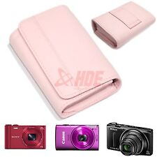 Pink Leather Padded Protector Universal Camera Case For Canon Sony Nikon