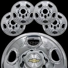 "4 New Silverado Suburban 16"" 8 Lug Chrome Wheel Skins Hub Caps Rim Center Covers"