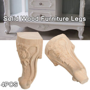 4PCS 3 Sizes European Solid Wood Carved Furniture Foot Leg TV Cabinet Seat Feet.
