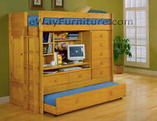 Loft Bed with Desk, Dresser, Trundle in One! Comes With 2 Twin Mattresses!