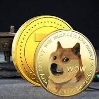 2PCS GOLD Dogecoin Coins Commemorative Gold Plated Doge Coin Dogcoin New 2021