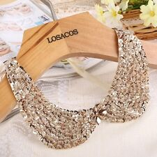 Sequin bead Vintage Gold knitted cloth Ribbon Fake collar statemet Necklaces