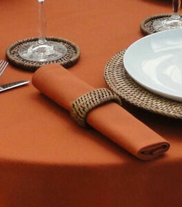 PACK OF 4 CHRISTMAS BURNT ORANGE COTTON NAPKINS (RINGS NOT INCLUDED)