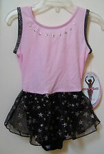 Jacques Moret Sparkle Sparkle Pink Star Dance Tank Skirtall Leotard Sz S 6-7