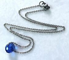 "Blue Crystal Bead Necklace--Oval Faceted Single Bead on16"" Stainless Steel Chain"
