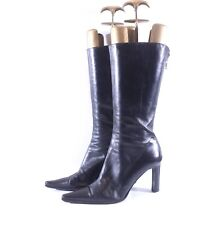 Womens Vintage LEILA BALDI Italian High Heel Black 100% Leather Boots UK5.5 riri