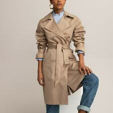 LA REDOUTE  Beige Long Buttoned Trench Coat Size 12 Cotton Belted Chic RRP£98
