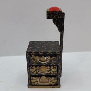 Japanese Black Enamel Hand Painted Sewing Box Chest Pin Cushion Vintage Sewing