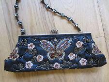 Prom Wedding Evening Bag Black Embroid Butterfly Satin Sequin Clutch Shoulder