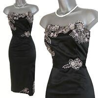 Karen Millen Black Silk Embellished Party Strapless Dress With Belt -UK 10 - VGC
