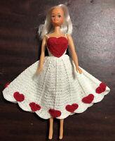 "VTG TOTSY Barbie clone 11"" FASHION doll BLONDE Handmade Crochet Valentines Dress"