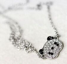 New Silver Plated Crystal Rhinestone Panda Bear Necklace