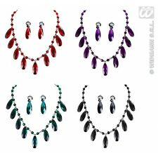 1x Gothic Necklace & Earring Set (red/black/purple/green) for Emo Goth Vampire H