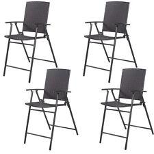 4*Chaise pliant poly rotin de jardin de salon pour balcon