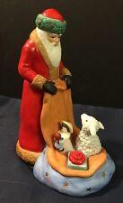 Vtg 1987 Schmid Christmas Music Box Santa St. Nicholas Child Lamb Kaplan Rare