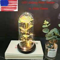 Galaxy Crystal Rose in the Glass Dome 20 Led Lights Gift for Girlfriend Mom Wife