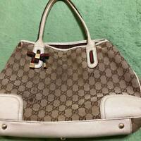 Authentic Gucci Tote Shoulder bag GG Canvas Monogram USED Women Purse G0189