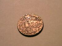 1320 ah Morocco 1/2 Dirham Ch AU Original Toned Maroc Half Dirham Silver Coin