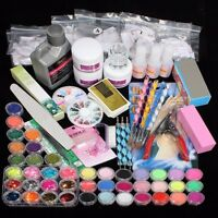 48 Colors Acrylic Powder Liquid Nail Art Set Glitter UV Gel Glue Tips Brush
