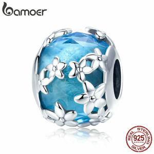 Bamoer S925 Sterling Silver Glass charm Confessions Daisies Fit Bracelet Jewelry