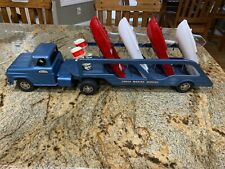 Vintage Tonka Marine Service Truck and Trailer with 4 Boats and 2 Motors