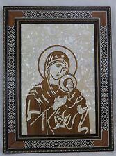 Wandbild Madonna Holz Perlmutt / Intarsien Syrien - Maria & Jesus Kind