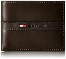 TOMMY HILFIGER MEN'S LEATHER PASSCASE & VALET BILLFOLD BROWN TOMMY WALLET
