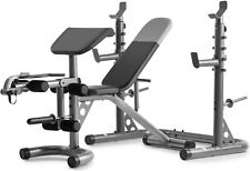 Weider XRS 20 Olympic Workout Bench & Independent Squat Rack and Preacher Pad