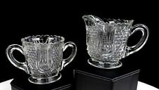 """EAPG FEDERAL GLASS WABASH HONEYCOMB AND TULIP 2 3/4"""" CREAMER AND SUGAR BOWL 1914"""